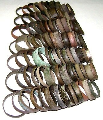 Ancient medieval lot of 91 bronze Rings