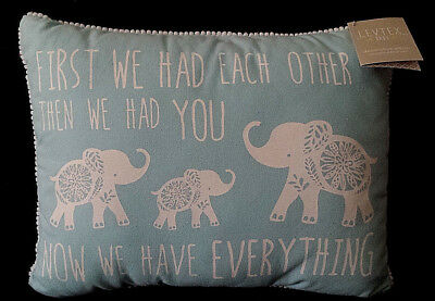 NEW/NWT-Levtex Baby Nursery Pillow/Now We Have Everything/Blue w/Elephants/Boys