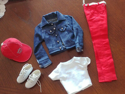 """Tonner Outfit - Red Pants & Jean Jacket - 'miss America - Casual Beauty"""" - Cute"""