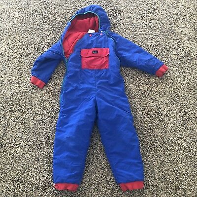 Kids Sz 4/5 REI Vintage Hooded Snowsuit One Piece Blue Green And Red