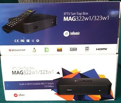 *New MAG322w1 IPTV Box with Built in WiFi and12 month Premium IPTV subscription.