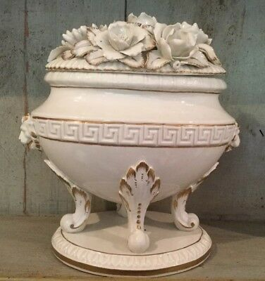 Stunning Vintage Casasus Spain White And Gilded Porcelain Pot With Lid Urn Style