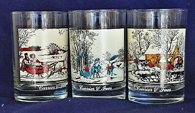 """CURRIER & IVES 3 1981 Arby's Collector's Series Glasses Water Lowball Glass 4.5"""""""