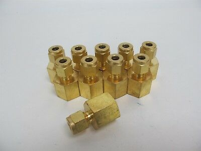 """Lot of 10 Swagelok B-400-7-6 Brass Tube Fitting Female Connector 1/4"""" x 3/8"""""""