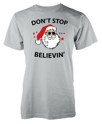 Xmas Dont Stop Believin Christmas Adult T Shirt Black