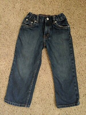 TODDLER BOYS JEANS LEVIS 569 Loose Fit SZ 4T Dark Wash*Adjustable waist