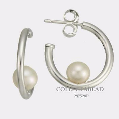 0afb14242 Authentic Pandora Sterling Silver Contemporary Pearl Hoop Earrings 297528P * NEW*