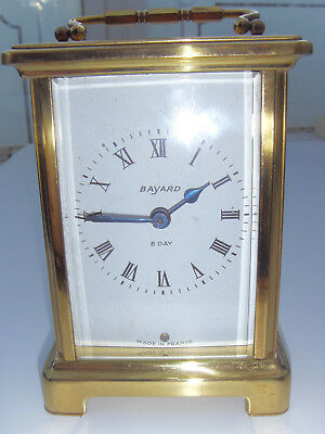 Brass Carriage Clock 8 Day Movement Bayard Duverdrey & Bloquel Made In France