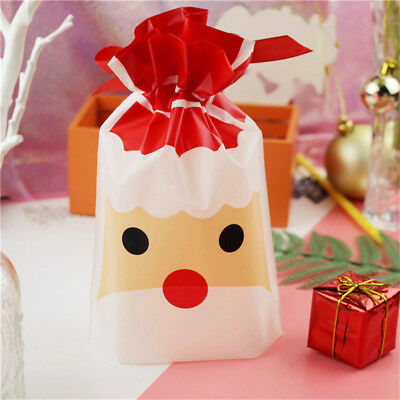 50X Merry Christmas Santa Gift Drawstring Bag Cookie Candy Pouch Plastic Xmas AU
