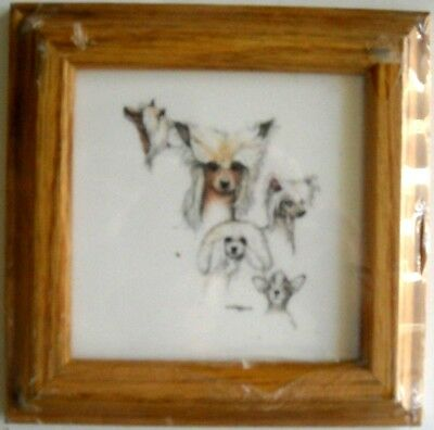 Gorgeous CHINESE CRESTED Multi Image Art - Solid Oak Frame w/Ceramic Tile Insert