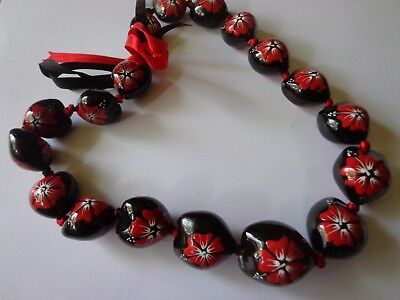 Hawaii Wedding painted Kukui Nut Lei Graduation Luau Hula Necklace HIBISCUS