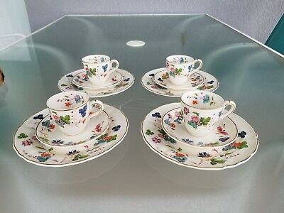 Vintage Marlborough Grindley Cambria Set Of 4 Trios Demitasse Tea Cup And Saucer