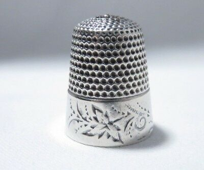 Antique Waite Thresher Sterling Silver Sz 9 Floral Band Thimble