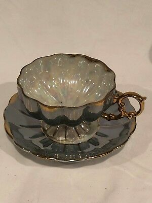 Vintage Royal Sealy Japan Delicate China Cup & Saucer Gold Deco Seafoam Green