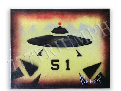 "'Ufo Area 51"" Original Aerosol On Canvas Painting  8X10 In.  Signed By Artist"