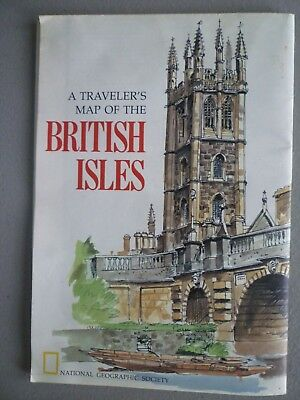 Vintage 1974 A Travelers Map of the British Isles - National Geographic
