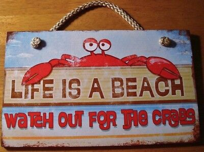 Red Crab Beach Sign Kitchen Home Decor LIFE IS A BEACH WATCH OUT FOR THE CRABS