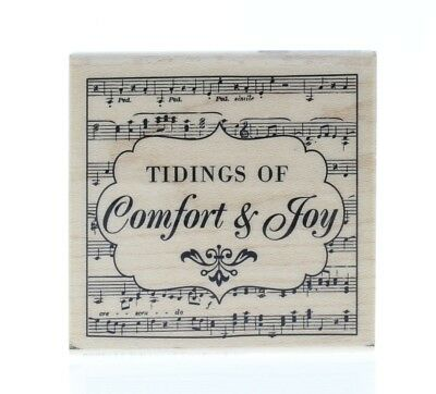 Hampton Art Tidings of Comfort and Joy Musical collage Wooden Rubber Stamp