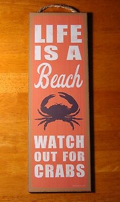 Crab Beach Kitchen Decor Sign LIFE IS A BEACH Coastal Tropical Coral Seafood NEW
