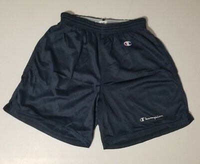 Mens VTG 1980's-90's CHAMPION Brand Black Nylon Gym Shorts USA Size L