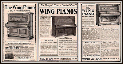 Ad Lot Of 3  1899 1902 A - 1904 A Ads Wing Piano Upright Music Concert Grand