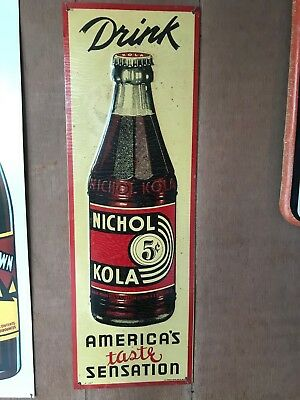 NOS Vintage 1936 Drink NICHOL KOLA Embossed Sign. Coca Cola Advertisement Coke