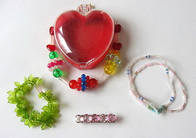 Heart BARRETTE, BRACELETS, NECKLACE in HEART BOX for a YOUNG GIRL NOS 1980s