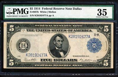 "Fr.887B 1914 $5 DALLAS ""TYPE B FACEPLATE"" FRN + PMG CHOICE VERY FINE 35 RARE!"