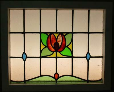 "MID SIZED OLD ENGLISH LEADED STAINED GLASS WINDOW Colorful Floral 23.5"" x 19.25"""