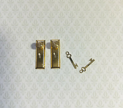 Dollhouse Miniature Door Knobs and Plates Set with Keyhole 1:12 Scale Brass Gold