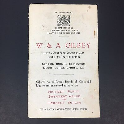 W & A Gilbey Distillery Price Guide Printed in England Gilbey's Gin Scotch Rum