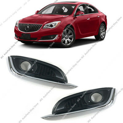 Chrome Front Bumper Bezels Fog Light Covers Pair o Fit For Buick Regal 2014-17