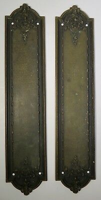 VTG Pair (2) Solid Cast Brass Door Finger Push Plates with Roses and Leaf Scroll