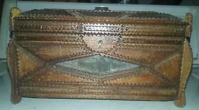 Tramp Art Antique Wood Jewelry Box w mirrors feet lined felt hand made Folk Art