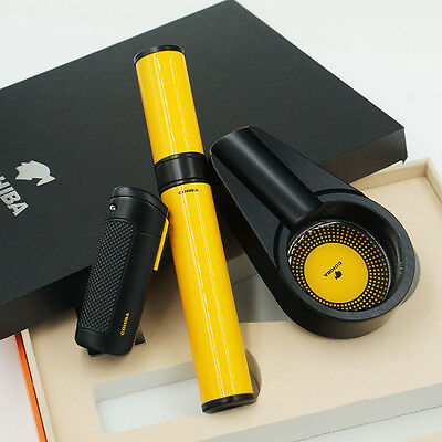 COHIBA Black Cigar Lighter Ashtray Yellow Hydrating Tube Travel Gifts Set
