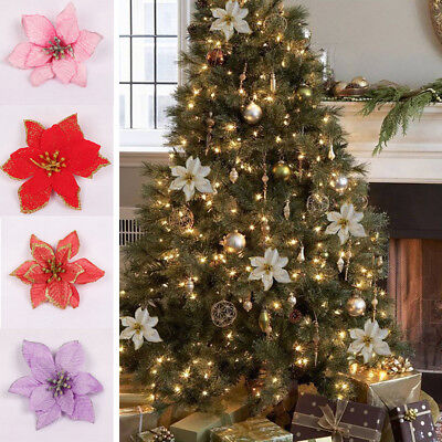 5/10Pcs 13cm Glitter Hollow Wedding Party Christmas Flowers Xmas Tree Decor Fake