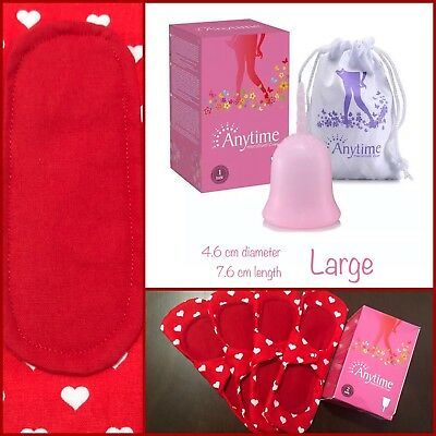 Menstrual Cup Reusable Cloth Pad Liners Matching Set Red Pink Fabric New BNIB