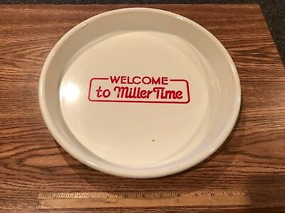 "Vintage Plastic Welcome To Miller Time Beer Tray; 13"" Diameter"