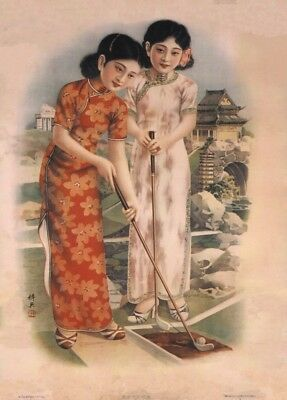Two Chinese Lady Golfers, Shanghai, China, 1930's, Vintage Golf Poster