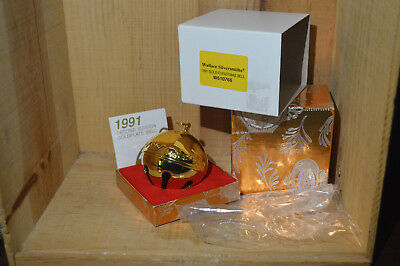 Wallace Silversmiths 1991 2nd Edition Gold Plated Christmas Sleigh Bell in Box