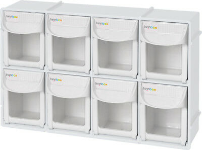 """livinbox FO-308 12"""" Tip Out Bin System with 8 Drawers Stackable Organizer"""