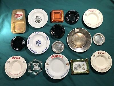Vintage Beer Ashtray Etc Lot Of 16: Hamms, Coors, Olympia, Warsteiner, & More...