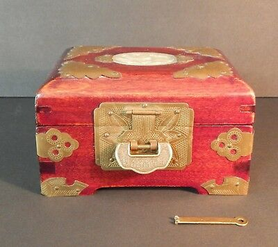 Vintage Chinese Ornate Rosewood Jewelry Box Brass Inlaid Carved Jade Lockable