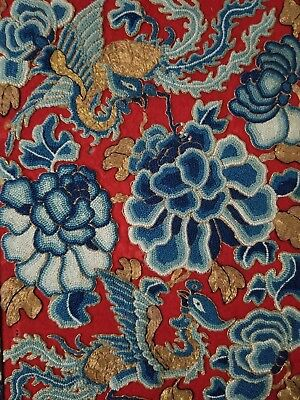 Antique Chinese embroidered silk panel with gold threads