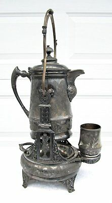 Antique Victorian Aesthetic Acme Silver Plate Tilting Water Pitcher w Cup Stand