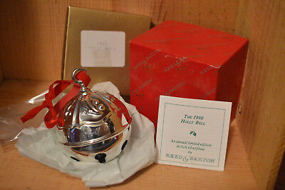 Reed & Barton 1990 Silver Plated Christmas Holly Sleigh Bell Brand New in Box