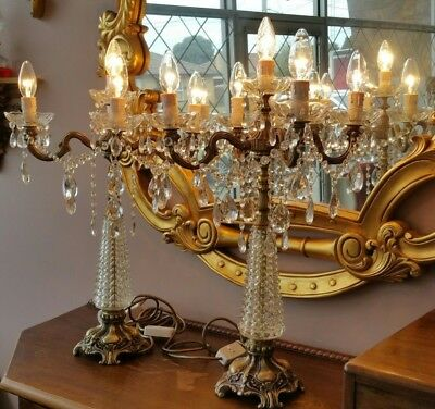 Vintage Brass and Crystal Table Lamp Pair
