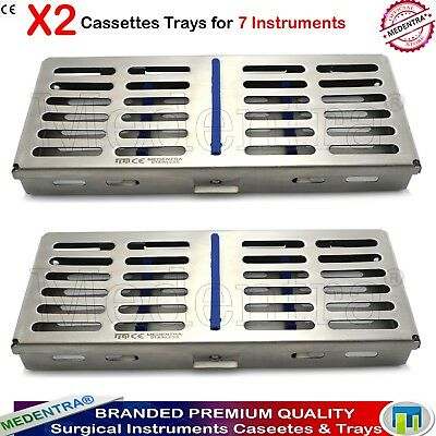 Stainless Dental Sterilization 7 Instruments Cassettes Autoclave Trays Rack 2PCS