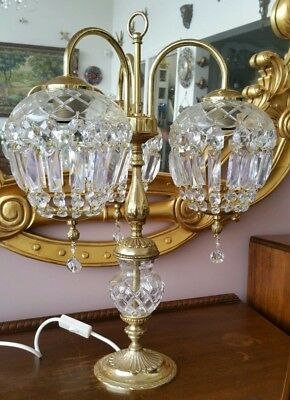 Vintage Brass and Crystal Table Lamp Very Unusual Style