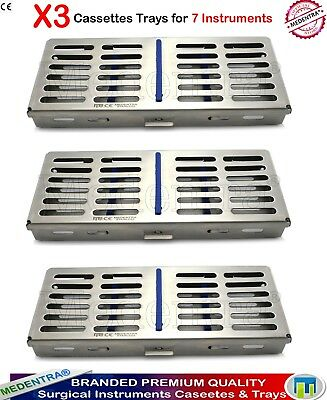 Dental Sterilization Cassette Autoclave Scalers Tray Box for 7 Instruments 3PCS